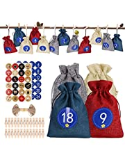 24 Pcs Christmas Advent Calendar Bags 2021,NXPOY Xmas Countdown Gift Bags,DIY Hanging Reusable Candy Snack Treat Burlap Bag with Drawstring Pouches for Kids, Adult Home Decoration