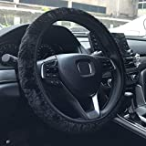 KAFEEK Long Microfiber Plush Steering Wheel Cover for Winter Warm, Universal 15 inch, Anti-Slip, Odorless, Black