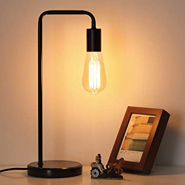 Table Lamp, Vintage Desk Lamp Industrial Nightstand Lamp, Bedside Edison Lamp with Black Marble Base for Living Room, Bedroom, Office,Coffee House