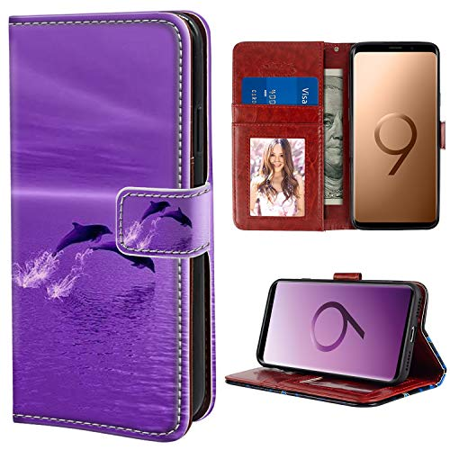 (YaoLang Samsung Galaxy S9 Wallet Case, Dolphins Surfing in a Purple Sunset PU Leather Standable Wallet Phone Case with Card Holder Magnetic Hold for Samsung Galaxy S9)