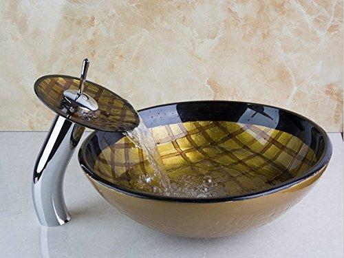 GOWE Tempered Grid Pattern Bathroom Basin Sink Real Estate Vessel Faucet Lavatory Glass Basin Set 0
