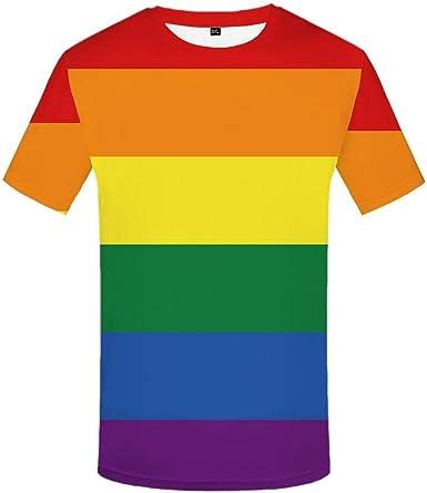 Luotears Camisa Arcoiris Camisa Gay Camisa con Estampado Colorido Casual Camisa con Estampado Anime Ropa Manga Corta: Amazon.es: Ropa y accesorios