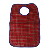 Waterproof Adult Mealtime Bib Protector Disability Aid Clothes Apron Red
