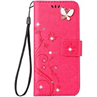 iPhone XR Handmade Case,Aulzaju iPhone XR Luxury 3D Bling Rhinestone Soft Slim Flip Stand Wallet Cover for iPhone XR 6.1 Inch Flower Butterfly PU Leather Diamond Case for Girls Women-Rose Red