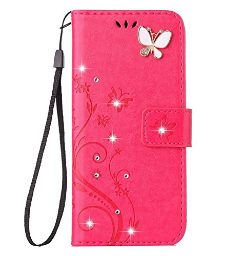 Auroralove iPhone 7 Luxury Handmade Bling Rhinestone Soft Slim Flip Stand Wallet Case for iPhone 7 4.7 Flower Butterfly PU Leather Case for Girls Women-Rose Red