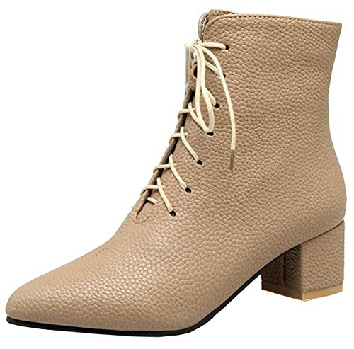 Easemax Women's Casual Mid Block Heel Pointy Toe Lace Up Short Ankle High Martin Booties Khaki 8VYms4
