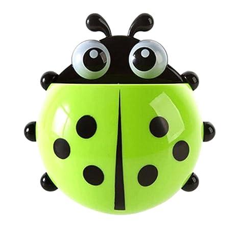 Momangel Creativo Mariquita Porta Cepillos de Dientes con Ventosa Accesorios para Baño (Verde)