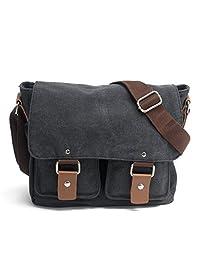 Yingbo Canvas Messenger Bag Shoulder Bag Laptop Bag Computer Bag Satchel Bag Bookbag School Bag Working Bag for Men and Women (BLACK)