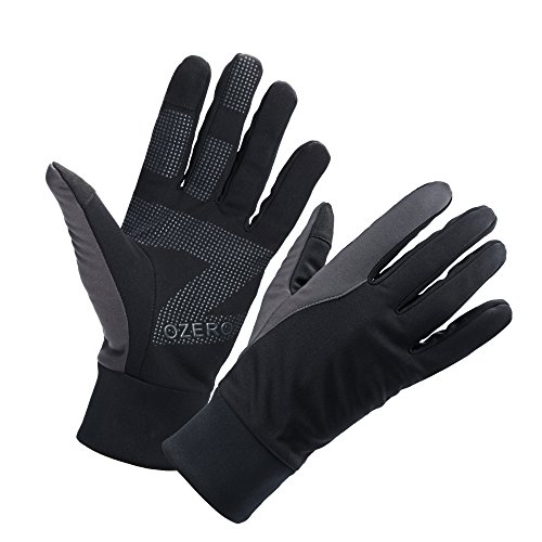 OZERO Bike Gloves for Men, Winter Warm Touch Glove for Smart Phone Texting with Non-Slip Silicone Gel - Thermal Cotton - Windproof and Waterproof for Running, Cycling, Driving - Black (Medium)