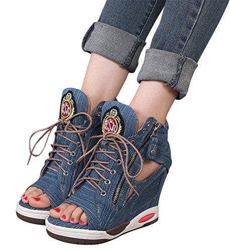 ACE SHOCK Jeans Wedges Sandals Women, Hidden Heel Peep-Toe Summer Canvas Sneakers Navy Blue