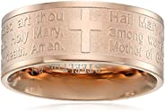 Steeltime 18k Rose Gold Plated Hail Mary Prayer Ring, Size 6