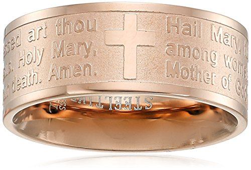 Steeltime 18k Gold Plated Hail Mary Prayer Ring, Size 8