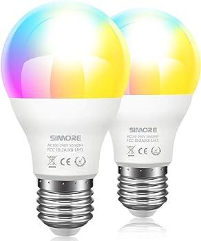 2-Pack Simore RGB A19 E26 Color Changing LED Light Bulbs