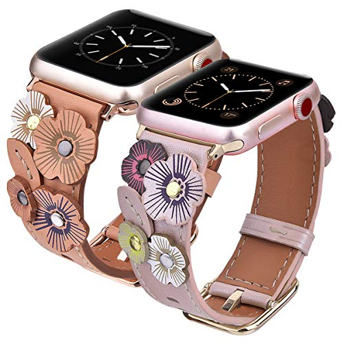 V-MORO Flowers Leather Band Compatible with Apple Watch Bands 38mm 40mm Series 4/3/2/1 Women with Stainless Steel Buckle Rose Gold, 2 Pack iWatch Leather Replacement Strap Wristband - Beige+Rose Gold