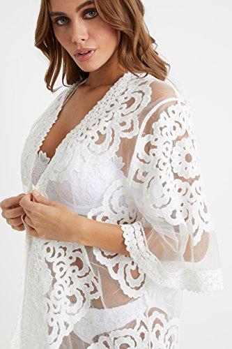 Kimono Damen Spitzenpasse Lipsy Weiß Mit 5FdnWvq