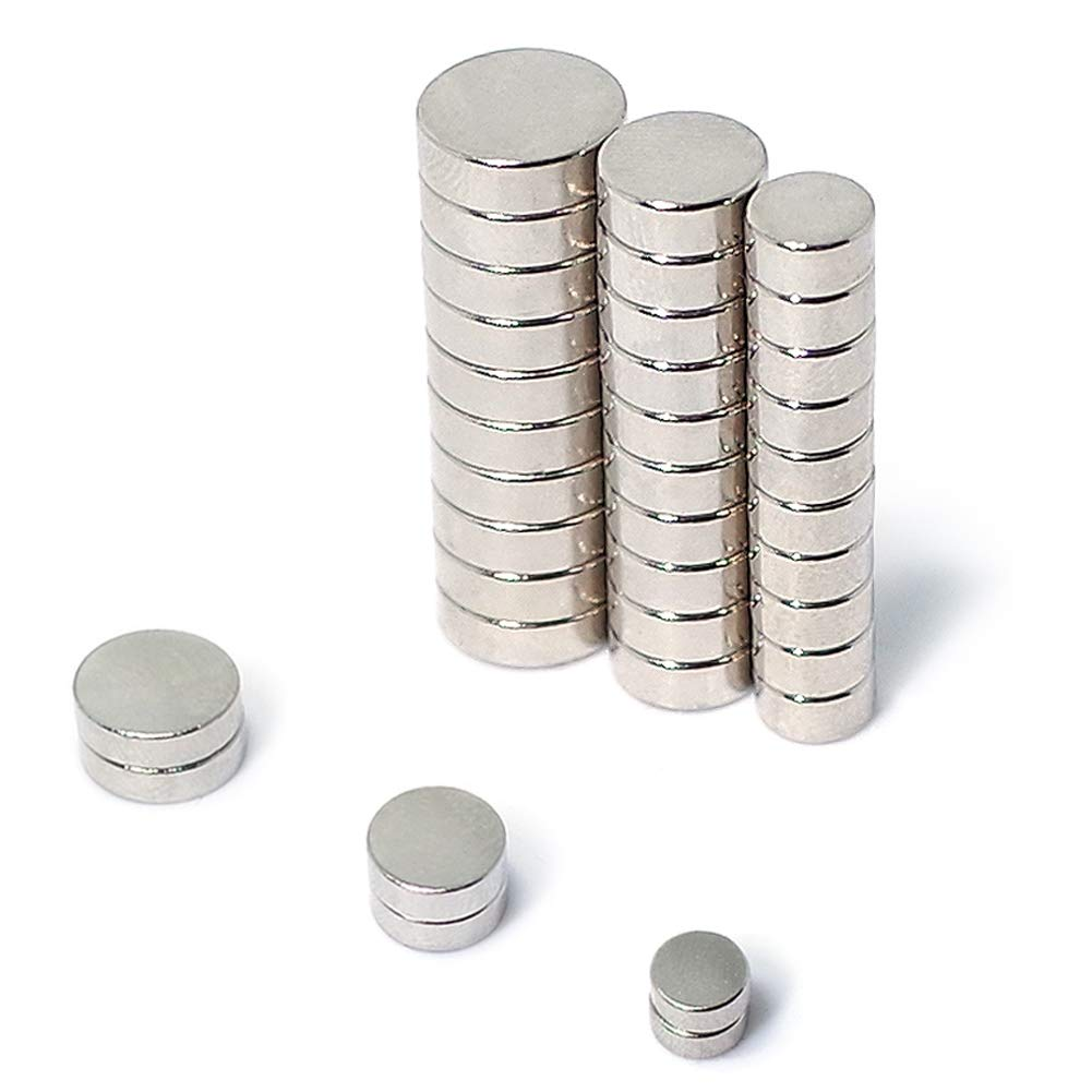 JACK CHLOE Round Refrigerator Magnets, 30Pcs Stainless Steel Craft Magnets of 3 Different Sizes, Durable Small Magnets for Multi-Use