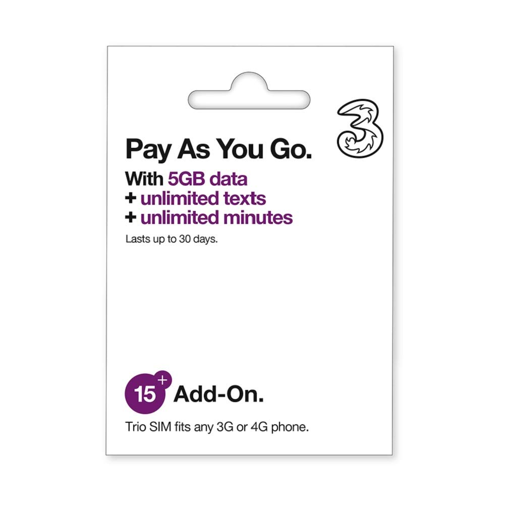 PrePaid Europe (UK THREE) sim card 5GB data+3000 minutes+3000 texts for 30 days with FREE ROAMING / USE in 71 destinations including all European countries by Three UK