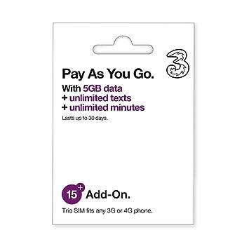 Three Mobile 5 GB Data Pay As You Go SIM