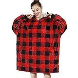 AmyHomie Blanket Sweatshirt, Oversized Sherpa Hooded Sweatshirt,Wearable Fleecehug Hoodie Blanket with Pocket for Adults & Kids & Teen