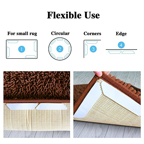 16 PCS Rug Gripper, Double Side Anti Curling & Non Slip Rug Gripper Keep Carpet Tape Stop Slipping for Outdoor / Bath / Kitchen / Round / Corner / Hardwood Floor Carpet Pads - White by drtulz (Image #2)
