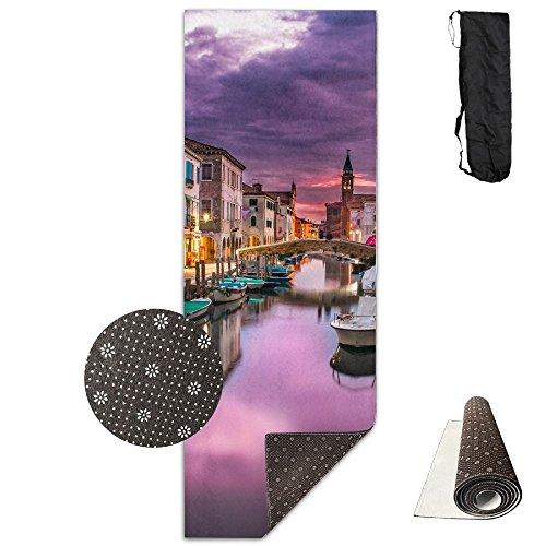 Vhfudklfv Canal Venice Italy Water River Buildings Non-slip Unisex Exercise Deluxe Yoga Mat by Vhfudklfv