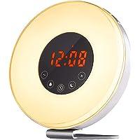 CCHKFEI Soluppgång väckarklocka, vakna upp ljus med soluppgång solnedgång simulering, 6 naturljud, FM-klockradio, 10…