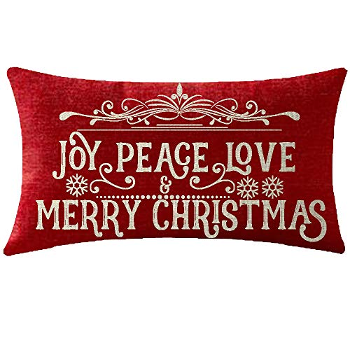 NIDITW Nice Sister Birthday with Blessings Joy Peace Love and Merry Christmas Red Lumbar Cotton Linen Cushion Case Pillow Covers Home Chair Couch Outdoor Decor Rectangle 12x20 inches