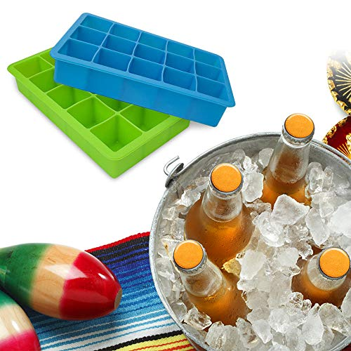 Ice Cube Tray, 2 Pack Food Grade Silicone Square Ice Cube Trays 8 Cubes Ice Trays Mold Storage Container DIY Trays for Drinks Green + Blue
