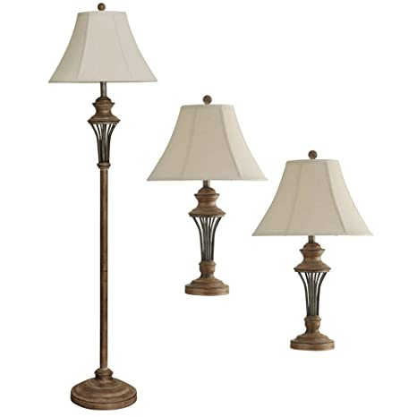Beautiful StyleCraft Home Collection 3 Piece Brown Rustic Moraga Floor And Table Lamp  Set
