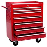 Merax 7 Drawer Tool Cabinet Tool Box Storage Chest with Rolling Casters (red)