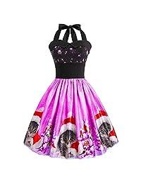 FANOUD Christmas Cats Print Halter Sleeveless Women Evening Party Prom Swing Dress