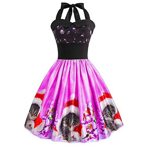 TOPBIGGER Women Halloween Dresses Vintage A-Line Dresses Cocktail Swing Party Dress Hot Pink
