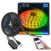 Minger MusicPro 9.8ft RGB LED Strip Lights, APP Control Multi Color Waterproof Flexible Tape Lighting Kit, Color Changing by Sync to Music, Power Supply Included