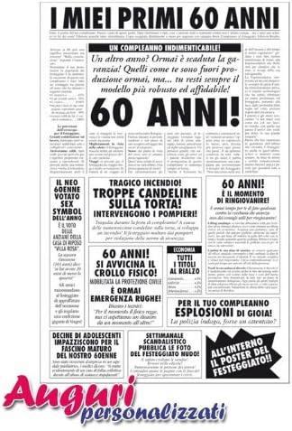 Bombo Biglietto Auguri Giornale Compleanno 60 Anni Amico Amazon