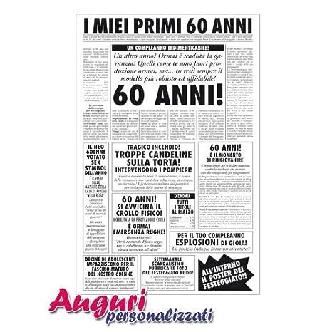 Biglietto Auguri Giornale Compleanno 60 Anni Amico Amazon It
