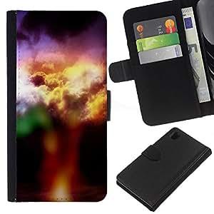 JackGot ( Nuvole colorate ) Sony Xperia Z1 L39 la tarjeta de Crédito Slots PU Funda de cuero Monedero caso cubierta de piel