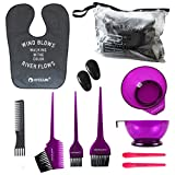 HYOUJIN 11Pcs Hair Dye Coloring DIY Tools Beauty Salon Tool Kit Includes Purple Tint Brushes & Mixing Bowl Pink Hair Clips