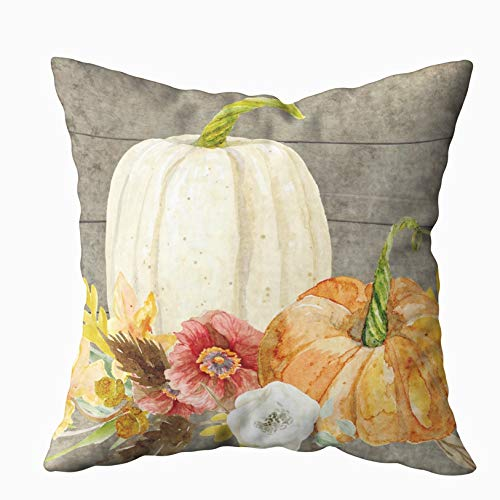EMMTEEY Home Decor Throw Pillowcase for Sofa Cushion Cover,Watercolor White Pumpkin red Poppy Fall Leaf Wood Decorative Square Accent Zippered and Double Sided Printing Pillow Case Covers 20X20Inch from EMMTEEY