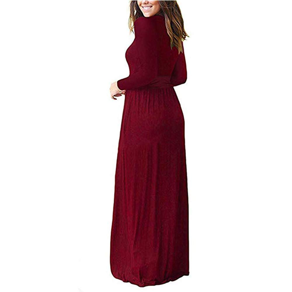 bd1739994aa1 Sumen Womens Long Sleeve V Neck Solid Casual Long Maxi Dress with Pockets:  Amazon.ca: Clothing & Accessories