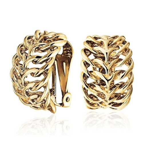 Brass Celtic Knot - Half Hoop clip On Earrings Woven Twisted Plated Brass Celtic Love Knot Clip On Earrings