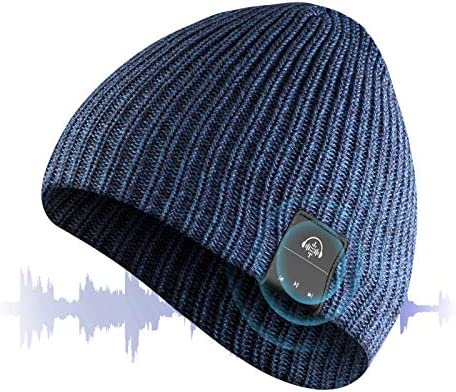 VOUO Bluetooth Beanie Hat with Headphones, Siri Voice Control Wireless Beanies Built-in HD Stereo Speakers & Microphone, Music Knit Cap for Kids, Women, Men (Blue)