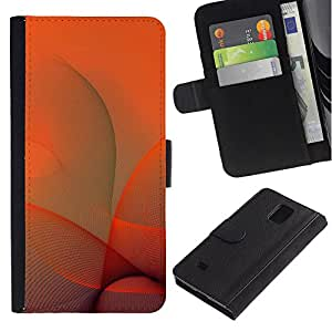 KingStore / Leather Etui en cuir / Samsung Galaxy Note 4 IV / Naranja Remolinos
