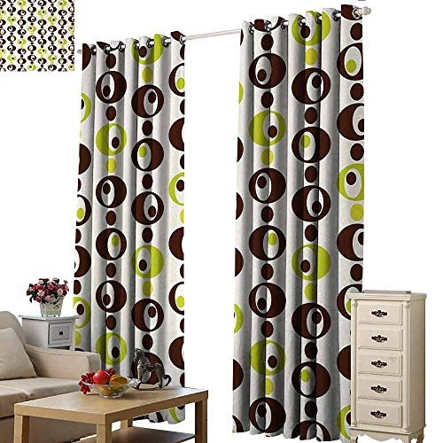 (Homrkey Exquisite Curtain Geometric Sixties Ornamental Vintage Circles Polka Dots Trippy Design Thermal Insulated Tie Up Curtain W96 xL108 Apple Green Chestnut Brown Cream)