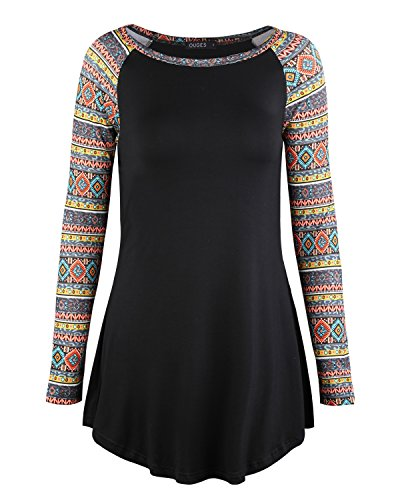 OUGES Women Patchwork Bohemia Sleeve Tunic Tops Casual Basic Shirt