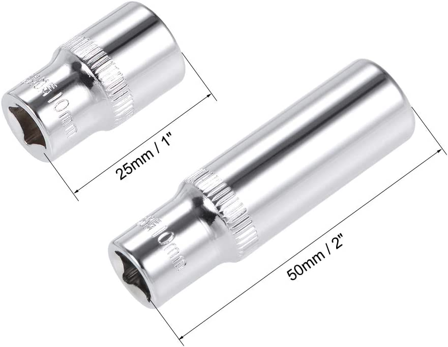 Cr-V 6-Point Metric uxcell 1//4-Inch Drive by 13mm Deep and Shallow Socket Set of 2 Pcs