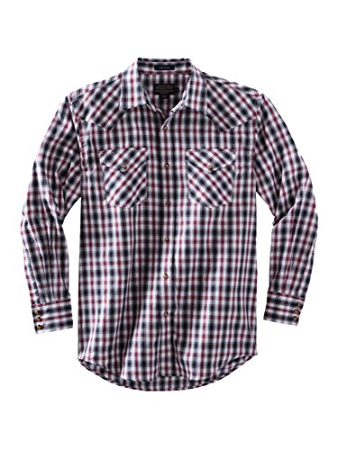 Pendleton Men's Long Sleeve Button Front Classic-fit Frontier Shirt, black/Grey/Red Herringbone, - Black Shirt Northwest