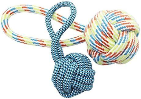 ホリデーギフト おもちゃの犬、歯のクリーニングコットンロープの犬のおもちゃ、屋内と屋外用の手作りの噛み付きの犬のおもちゃ 減圧の喜び (Color : Random, Size : S)