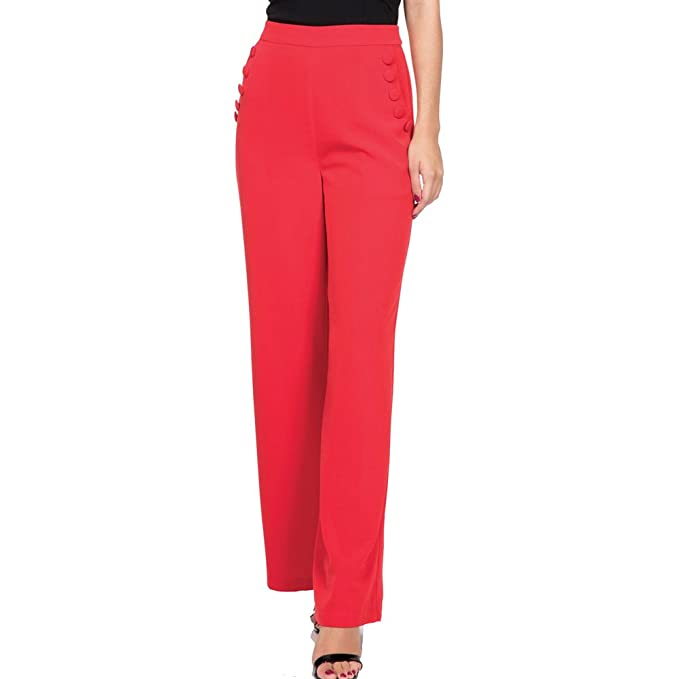 1940s Style Pants & Overalls- Wide Leg, High Waist TEDDY Button Front Trousers Red $52.99 AT vintagedancer.com