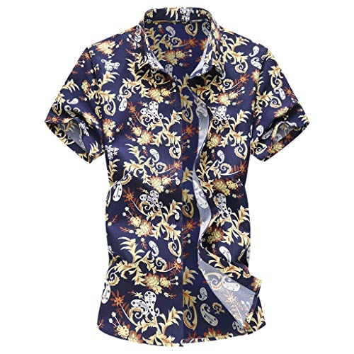 (YKARITIANNA Summer New Men Casual Summer Printed Button Short Sleeve Hawaiian T-Shirt Top Blouse)