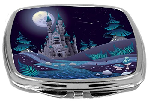 Rikki Knight Compact Mirror, Blue Castle Ivory Towers Illustration - Ivory Castle